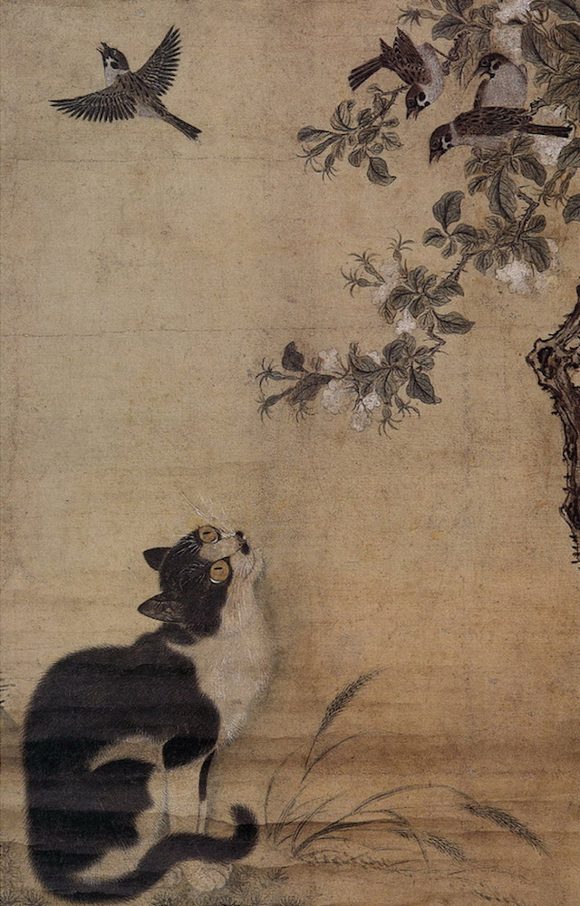 Japanese watercolor: cat with sparrows