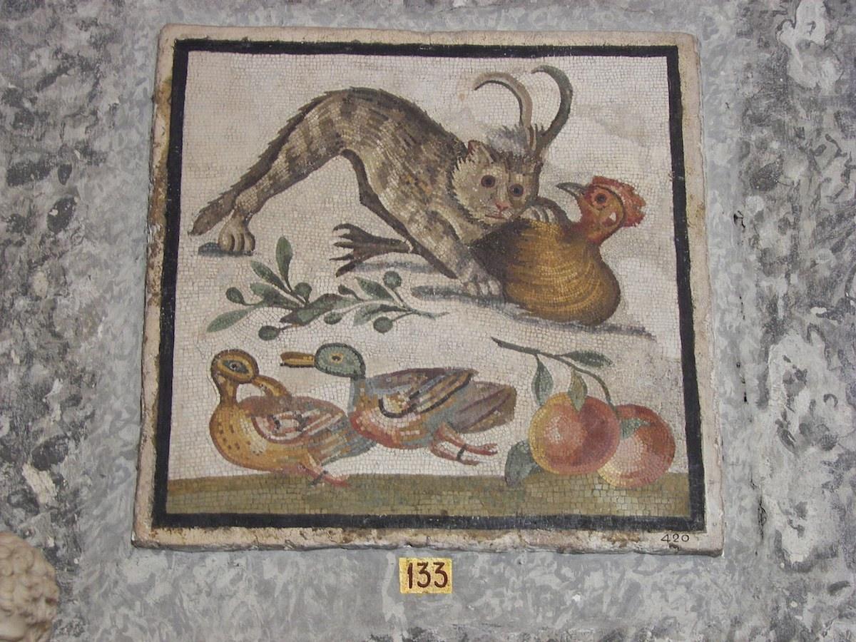 Roman cat mosaic