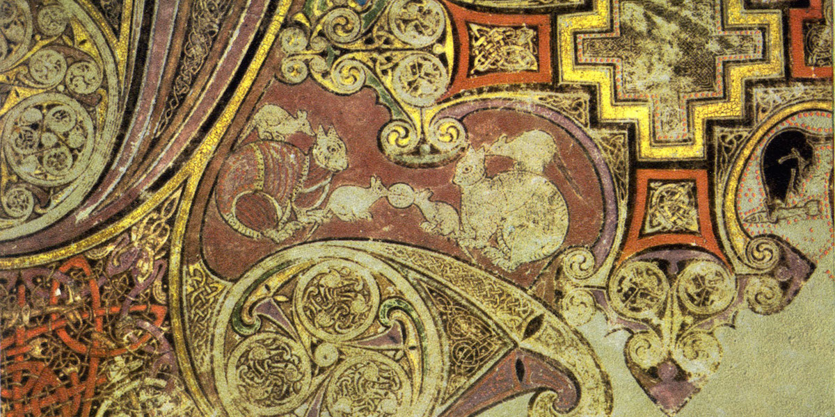 Cats on chi-rho page, Book of Kells