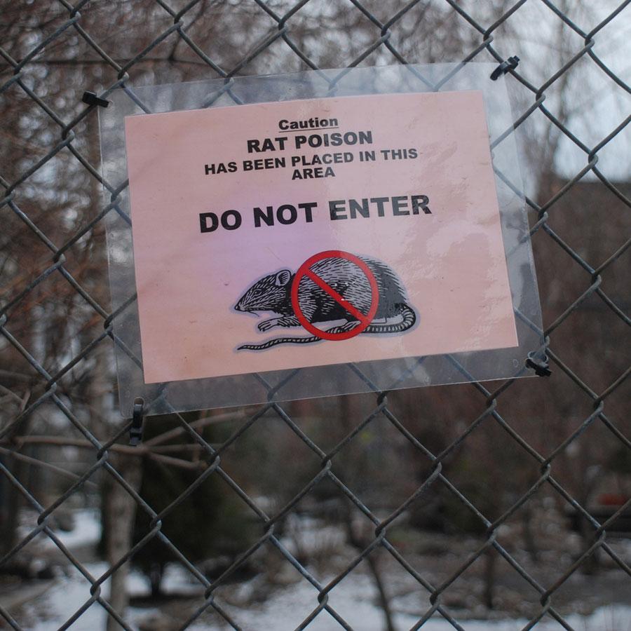 Rat poison warning sign