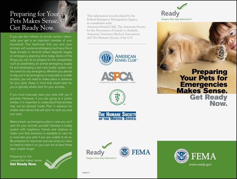 FEMA Pet Preparedness Emergency info sheet