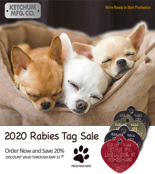 Ketchum Mfg. Co. 2020 rabies tags on sale