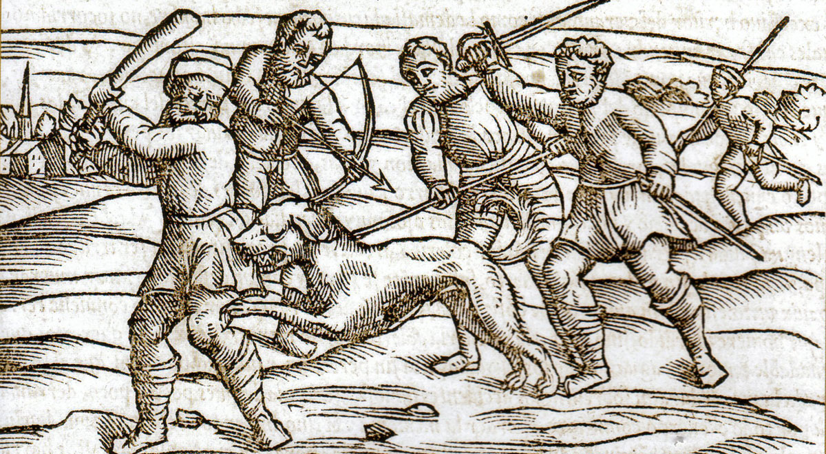 Medieval woodblock print - rabid dog