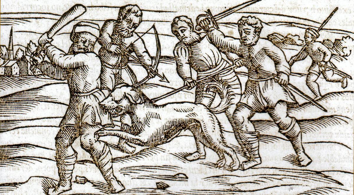 Medieval woodblock print - rabid dog