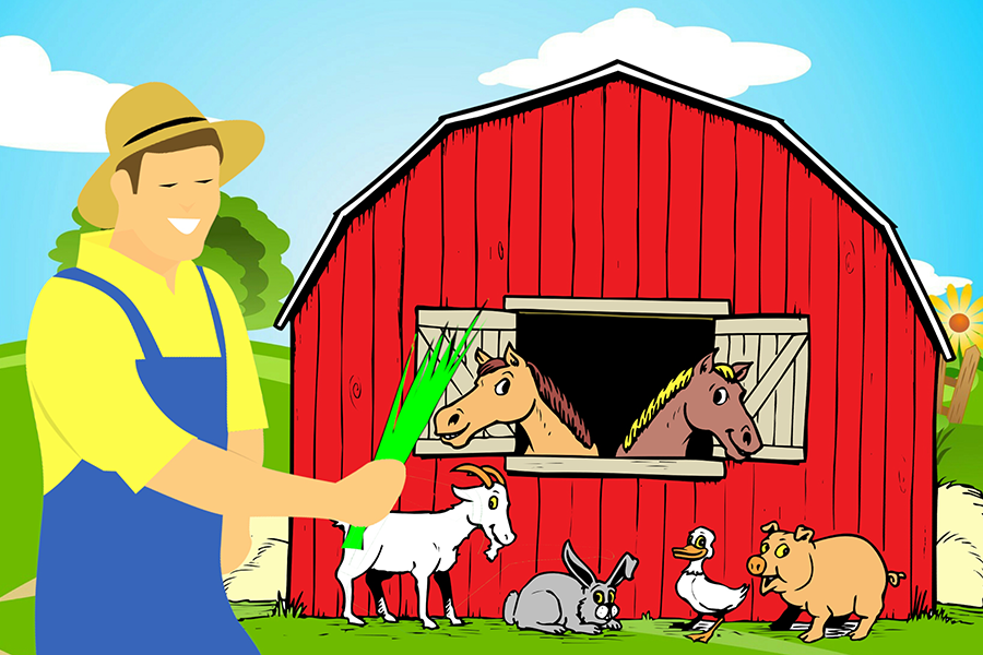 Drawing of farm animals with farmer