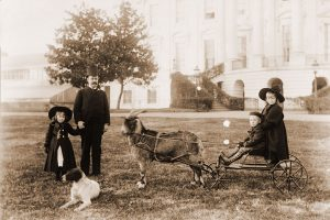 President Benjamin Harrison with children and goat